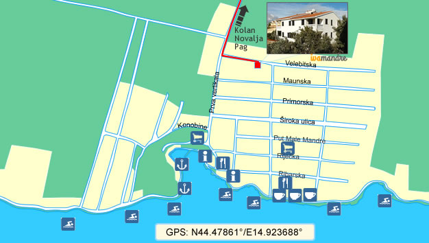 Apartments Iva - Mandre (Map)